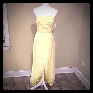 Yellow chiffon prom dress, size 7